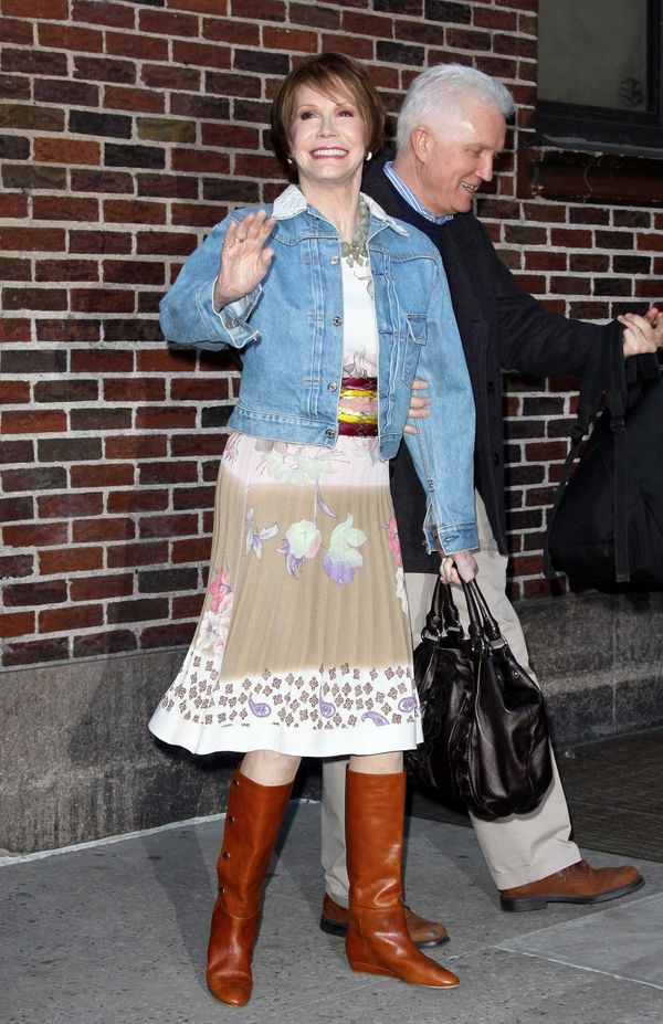 Mary Tyler Moorecoming out of the Late Show with David Letterman in NYC on March 24, 2009.