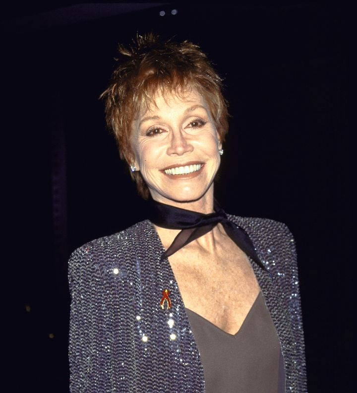 "Mary Tyler Moore at the ""On Board for amfAR"" Gala to honor Angela Lansbury on May 3, 1995 in New York City."