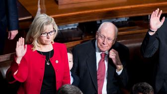 UNITED STATES - JANUARY 3: Former Vice President Dick Cheney looks on as his daughter Rep. Liz Cheney, R-Wyo., takes the oath of office on the House floor on Tuesday, Jan. 3, 2017. (Photo By Bill Clark/CQ Roll Call)