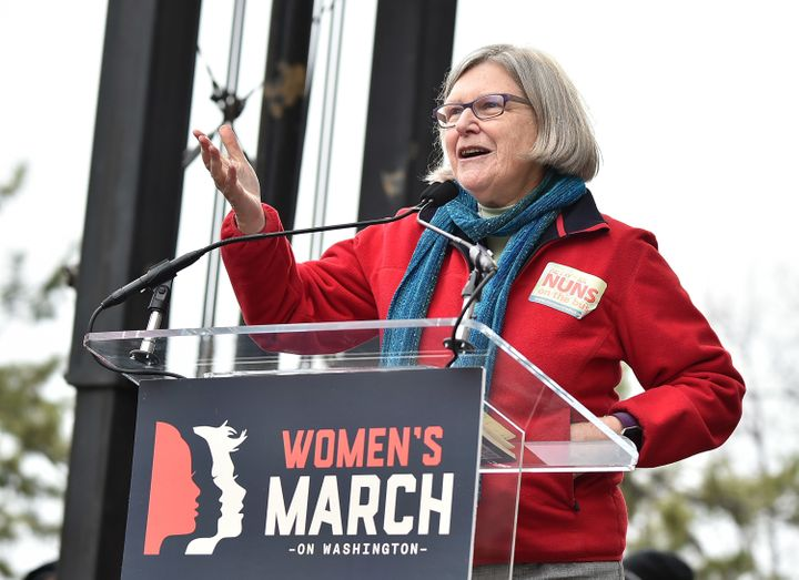 """Sister Simone Campbell spokeat the Women's March on Washington, reminding Christians that """"We are our sisters' ke"""