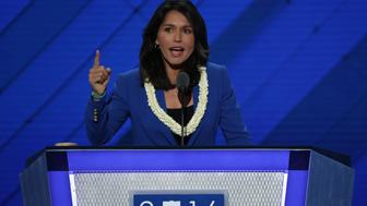 PHILADELPHIA, PA - JULY 26:  US representative Tulsi Gabbard (D-HI) on the second day of the Democratic National Convention at the Wells Fargo Center, July 26, 2016 in Philadelphia, Pennsylvania. An estimated 50,000 people are expected in Philadelphia, including hundreds of protesters and members of the media. The four-day Democratic National Convention kicked off July 25.  (Photo by Alex Wong/Getty Images)