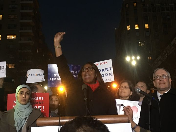 Letita James speaks to a crowd of protesters Wednesday night in Washington Square Park.