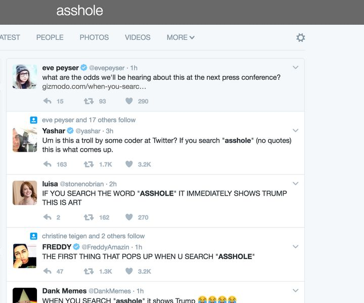 People Searched Ahole On Twitter And Came Up With Donald Trump