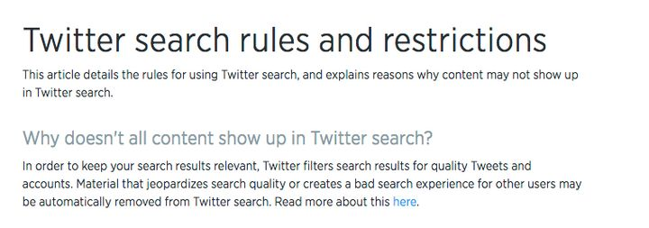 "Screenshot from the ""<a href=""https://support.twitter.com/articles/42646"" target=""_blank"">search rules and restrictions</a>"""