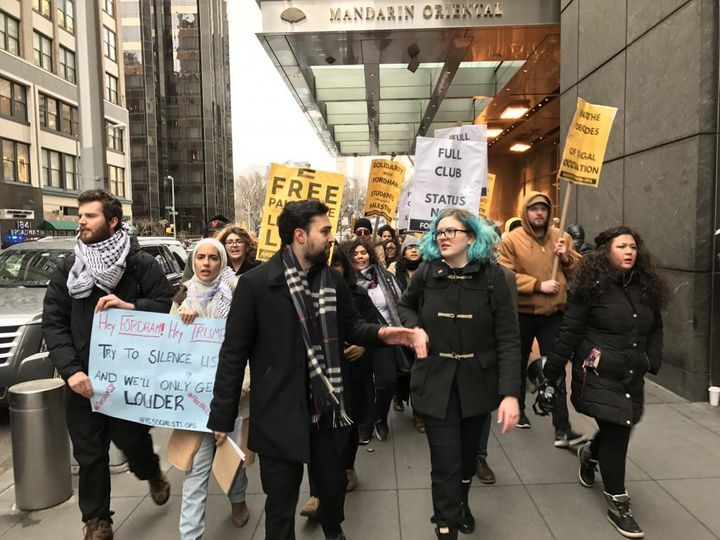 Protesters gather to demonstrate against Fordham's decision to veto SJP's application for club status.