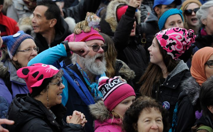 Protesters in Toronto wearing pink 'pussy hats' during the Women's March on Jan. 21.