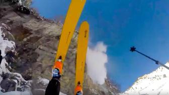 Skier falls of cliff