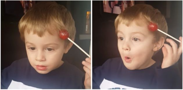 Kid Has A Lollipop Stuck To His Head, And His Reaction When He Finds It Is