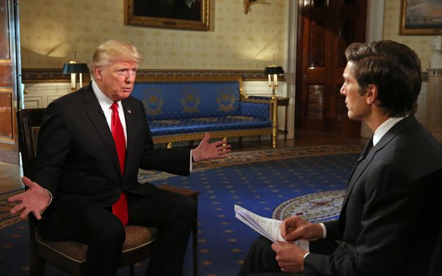 David Muir talks to President Donald J. Trump from the White House in Washington,