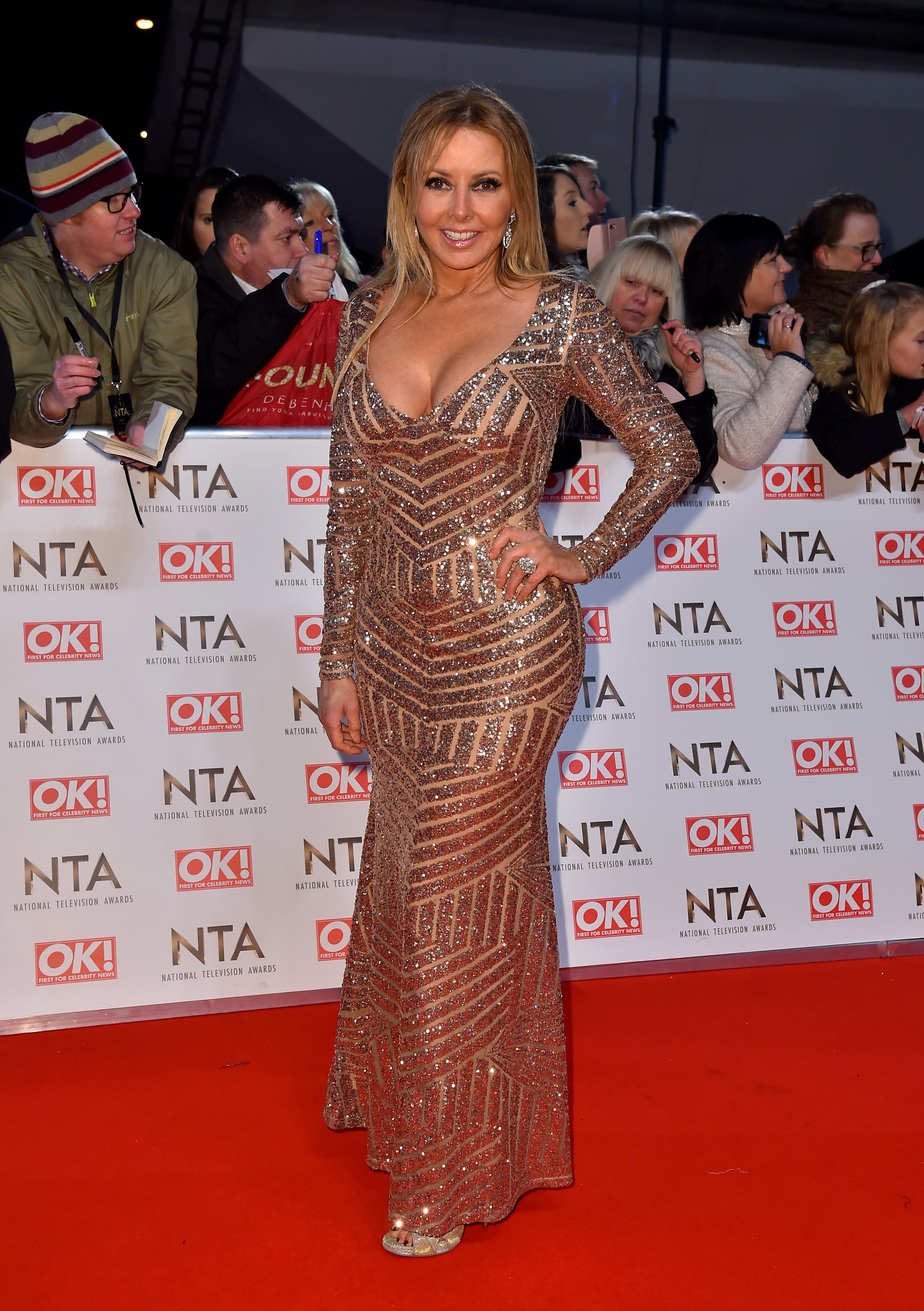 Carol Vorderman Dazzles (Literally) On The NTAs Red Carpet In Jaw-Dropping Metallic