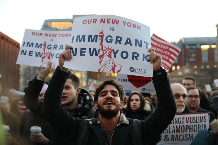 Responding to executive actions against Muslims and immigrants by President Donald Trump, hundreds rallied in New York City&n