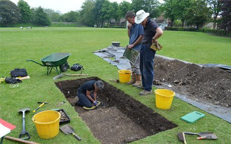 The archaeologists during an exploratory