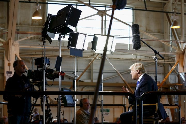 Donald Trump, seen here giving an interview to Bill O'Reilly of Fox News in December 2015, watches cable news obsessively.&nb