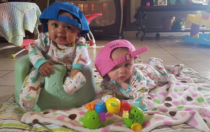 The adorable girls were born in April to a Caucasian mother and an African-American father.