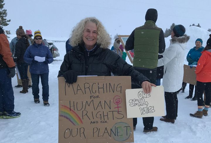Carole King at the Stanley, Idaho Women's March. January 21, 2017.