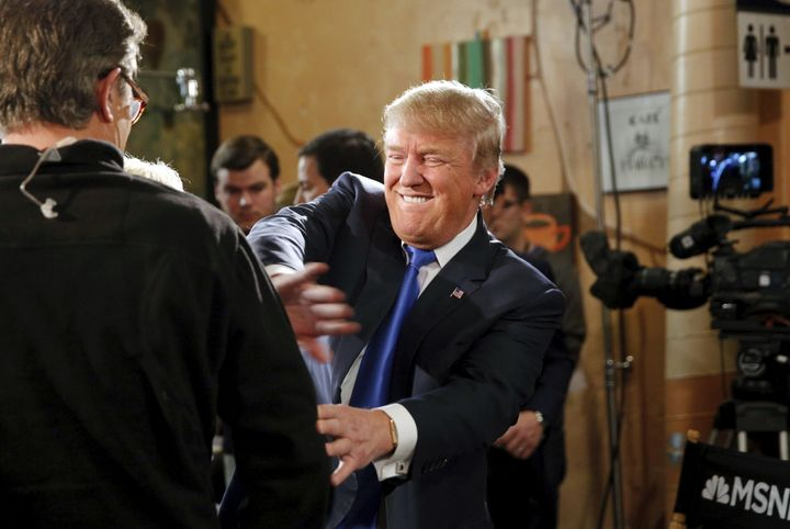 "Donald Trump joking on the set of ""Morning Joe,"" one of the cable news shows he's known to watch regularly."