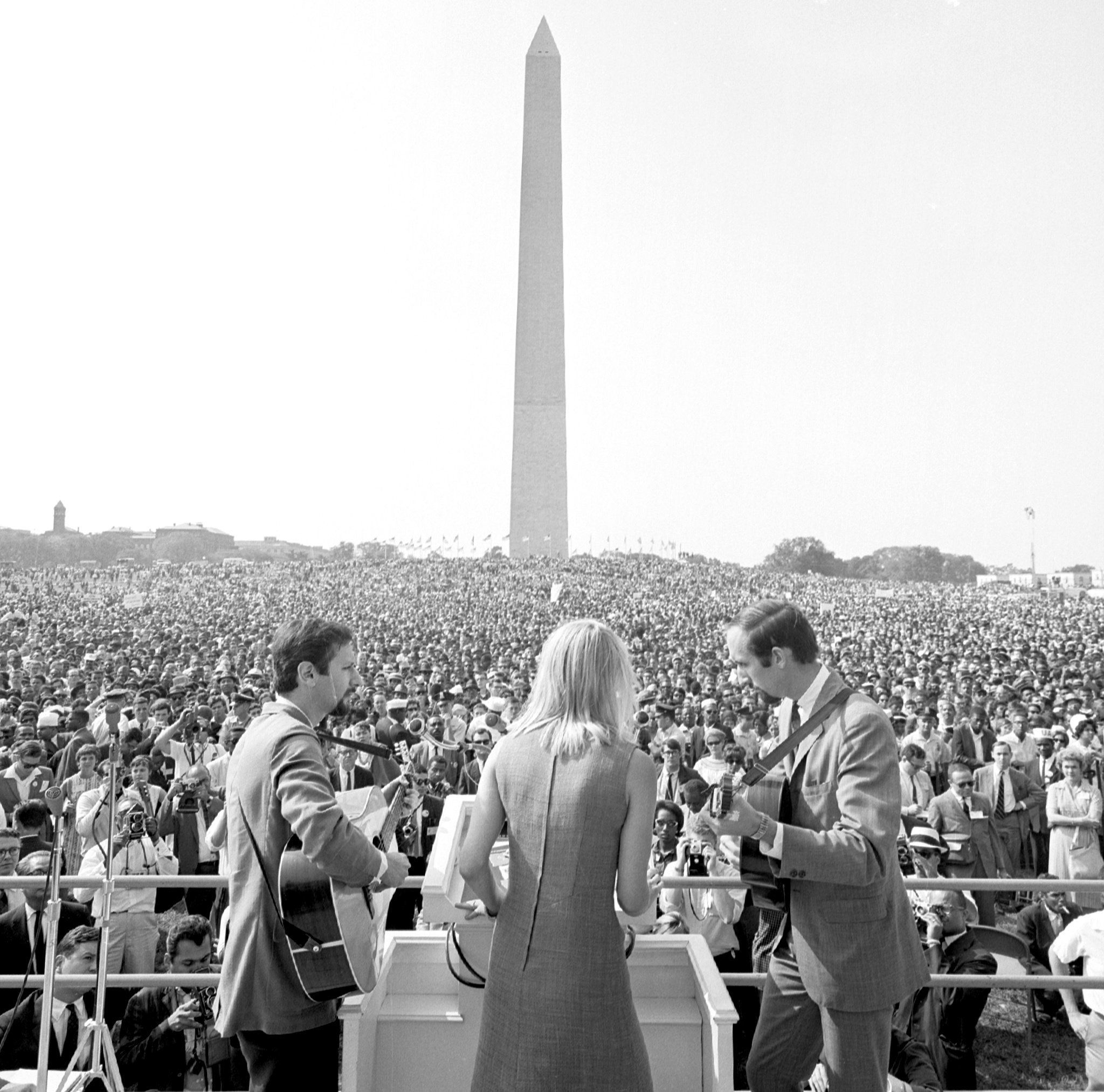 Peter, Paul and Mary sing during the March on Washington for Jobs and Freedom. August 28, 1963