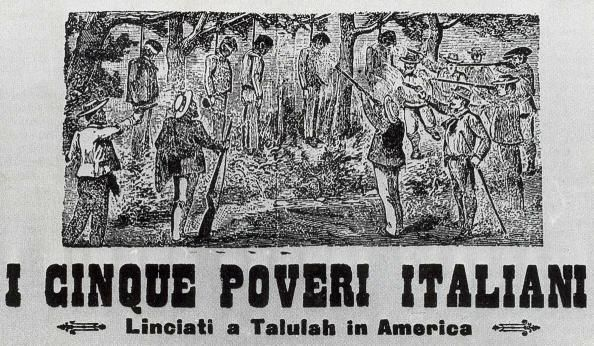 """Five Poor Italians."" A recording of a lynching of Italians. Italian immigrants were also targeted for lynchings in the South"