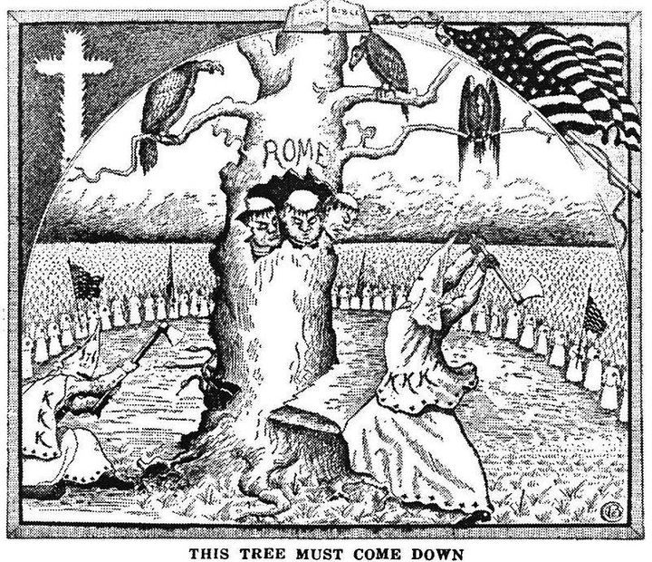 The Klan was opposed to Italians on racial and religious grounds. Italians were often depicted as an impure race in service o