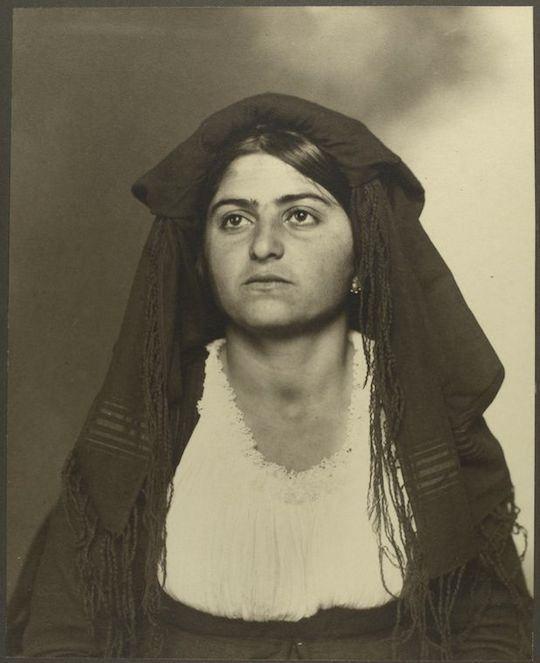Italian woman who arrived to Ellis Island around 1900.