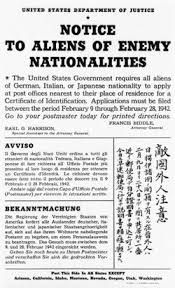 Italian, German, and Japanese nationals were required to register for a Certificate of Identification. Some Italians and Germ