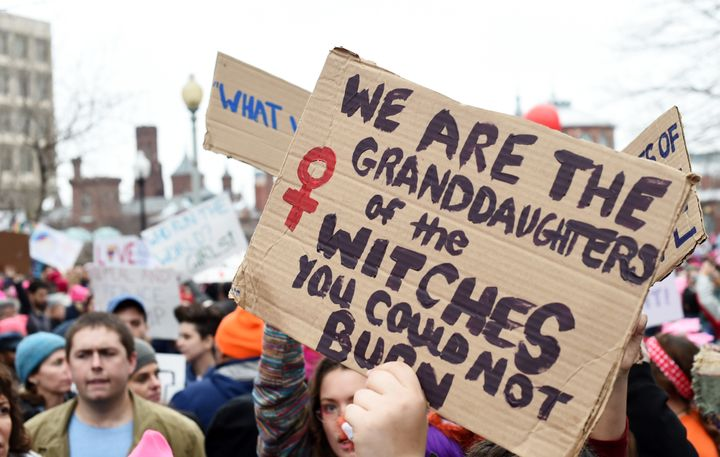 People attend the Women's March on Washington on Jan.21, 2017.