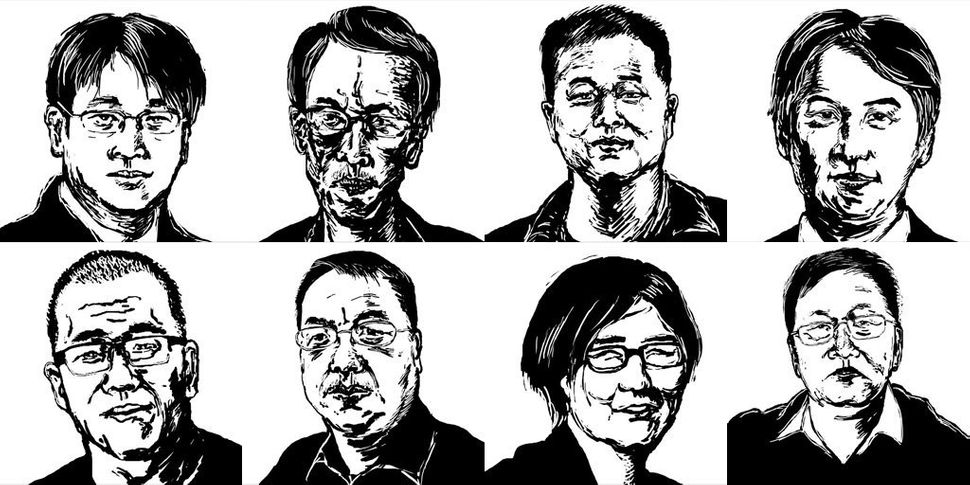 Illustrations of eight lawyers who were detained or went missing in July 2015 as part of a nationwide crackdown. Top left to
