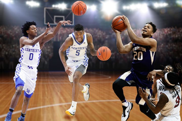 Kentucky guards De'Aaron Fox, far left, and Malik Monk have both been marvelous, but Washington's Markelle Fultz has asserted