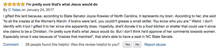 """""""Donate it to a food kitchen or shelter,"""" Amazon user C Yates said."""