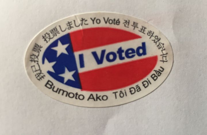 "My "" I voted"" sticker.  I voted, as an American Citizen on November 8th."