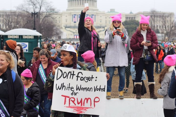 Protester, Angela Peoples, at the Women's March in Washington last weekend.