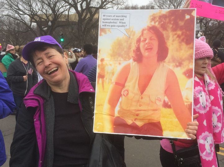 Fran DeBenedictis protested President Donald Trump in D.C. by carrying a sign with a picture of herself on it -- from&nb