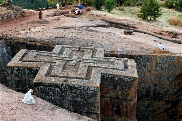 "Location: Lalibela, Ethiopia. <br><br>""The church of St. George, the most famous in Lalibela, shaped in a Greek Ort"