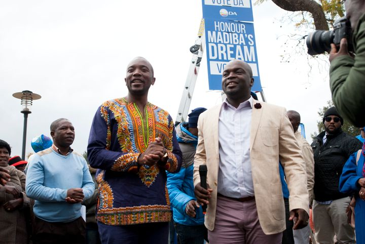 Democratic Alliance (DA) leader Mmusi Maimane with then-Tshwane mayoral candidate Solly Msimanga on the campaign trail in Jul