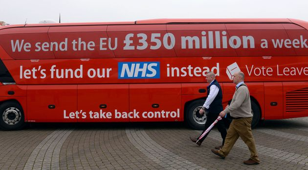The Vote Leave campaign bus pledging an extra £350 million a week into the