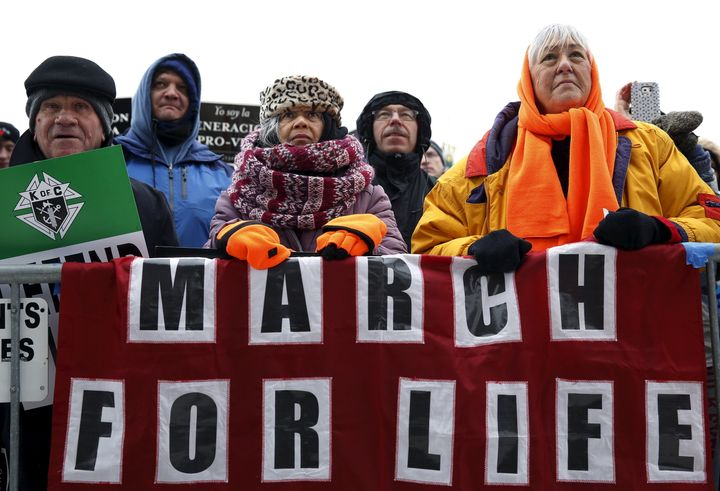 Anti-abortion supporters listen to speeches at the March for Life rally in Washington, D.C. on Jan. 22, 2016.