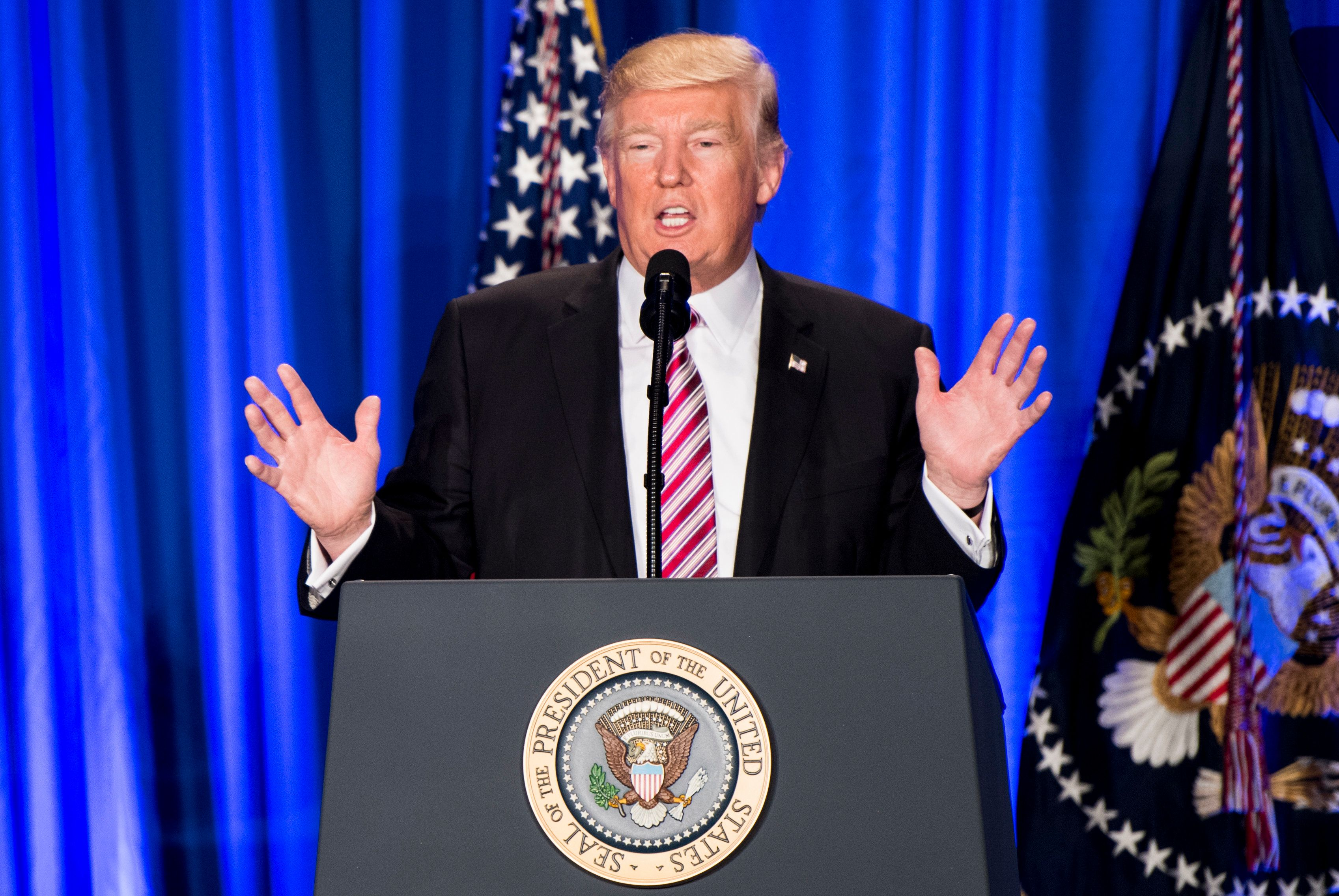 President Donald Trump spoke at the GOP Congressional retreat in Philadelphia on Thursday. He did not bring up his tax return