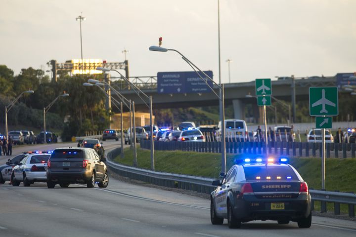 South Florida law enforcement officers ensure nobody enters Fort Lauderdale International Airport after Fridays shooting insi