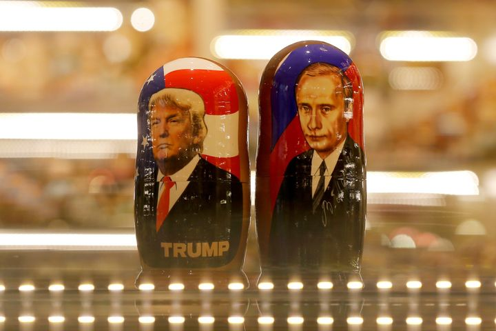 Painted Matryoshka dolls bearing the faces of Russian President Vladimir Putin and U.S. President Donald Trump at a souv