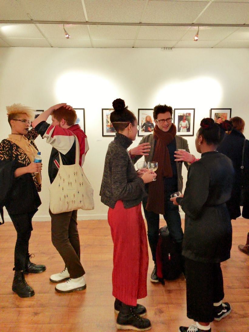 Artists and guests interact at the opening reception for Mission Gallery's newest exhibit.