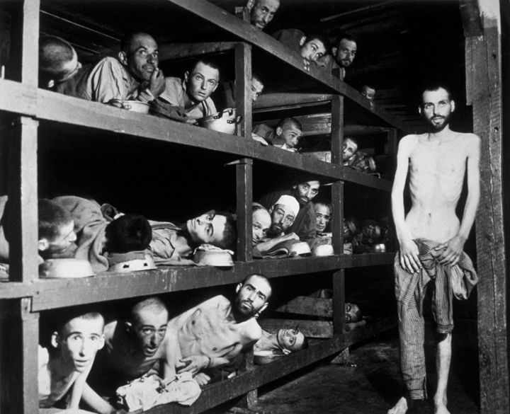 Victims of the Buchenwald concentration camp, liberated by the American troops of the 80th Division. Among them is Elie Wiese