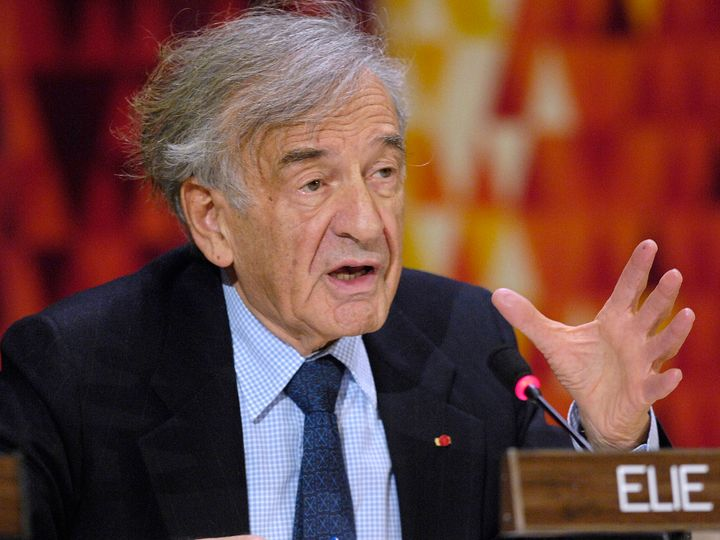 Wiesel speaks about the report he helped prepare discussing the situation in North Korea at the United Nations in New York, N