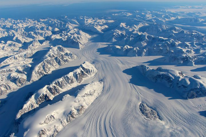 Heimdal Glacier in southern Greenland is seen in a NASA image captured by Langley Research Center's Falcon 20 aircraft, Oct. 13, 2015.