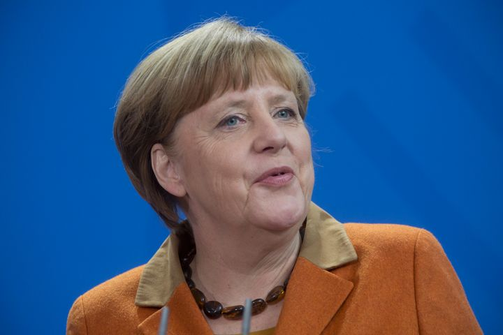 German Chancellor Angela Merkel speaks at a joint press event on Jan. 18.