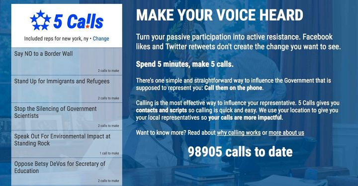 The 5 Calls website encourages voters to make five phone calls in five minutes.