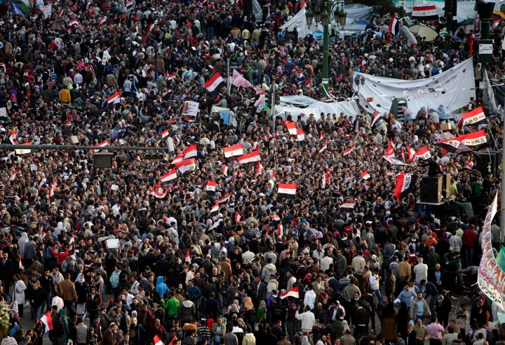 Anti-government protesters demand that President Hosni Mubarak step down at Tahrir Square on Feb. 10, 2011 in Cairo, Egypt.