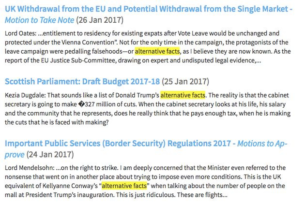 'Alternative facts' was recorded on three occasions in Hansard, the parliamentary record, in the last