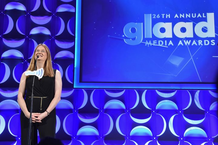 Jennifer Boylan speaks at the 26th Annual GLAAD Media Awards.