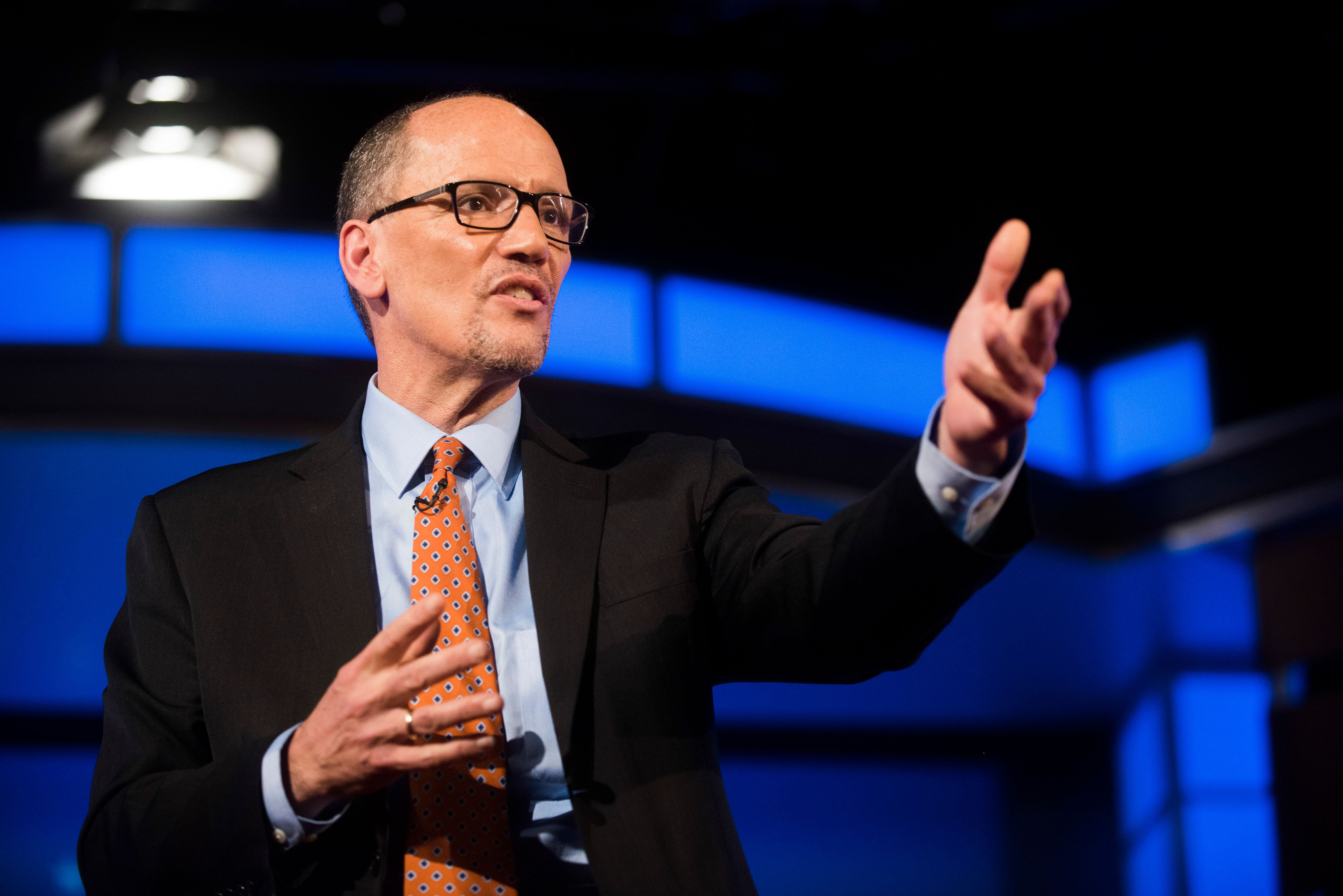 Tom Perez speaks during a debate for Democratic National Committee chair hosted by The Huffington Post at George Washington U