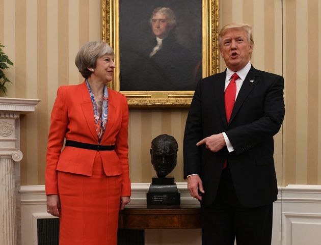 Prime Minister Theresa May meeting US President Donald Trump by a bust of Sir Winston Churchill in the...